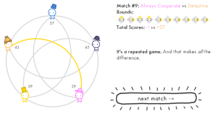 A diagram showing 5 players, a button for launching the next match.