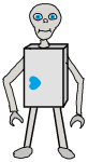 A robot with sad blue eyes and a rotated blue heart on the lower right.