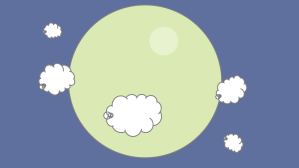 A planet with clouds as moons.