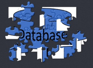 The typical cylindric database icon, as a jigsaw puzzle, with some of the scrambled pieces reassemmbled and some  not.