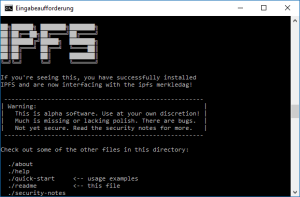 A screenshot of a command prompt window, showing a nostalgic style banner of IPFS. banner