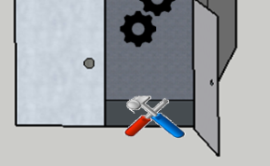 Hammer, screwdriver and a cog