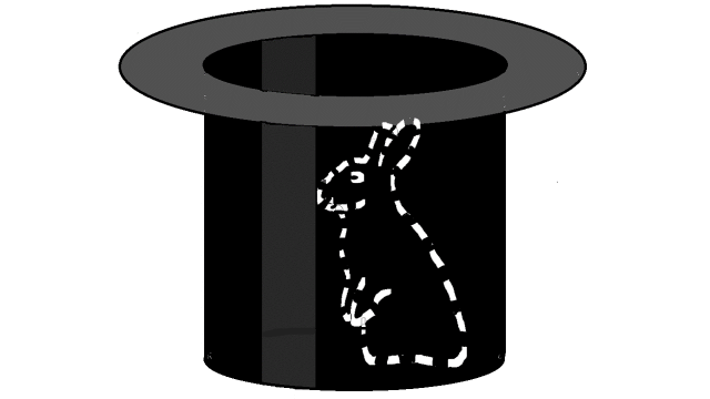 Dashed contours of a rabitt in a magician's cylinder