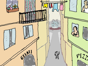 Italian narrow lane with protruding upper storeys where a clothesline spans from one side to the other.