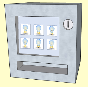A vending machine whose display shows idea icons (light bulbs).