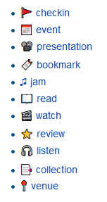 Colorful icons for the post types enumerated in the text