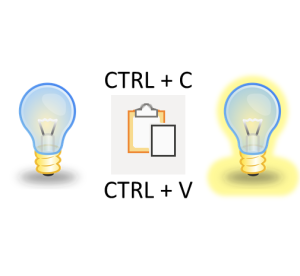 Two lightbulbs symbolizing an idea, and a CTRL+C / CTRL + V clipboard in between.