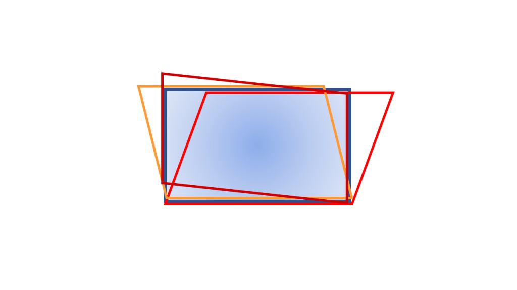 A rectangle and 3 parallelograms with width or height equal to the rectangle's, with different colors, and all aligned at the bottom.