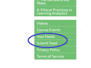 Partial screenshot of the course page menu, with the two items circled that are described in the text.